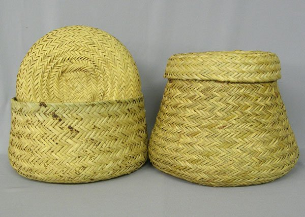 1006: 2 Tarahumara Mexico Woven Lidded Baskets 10''H