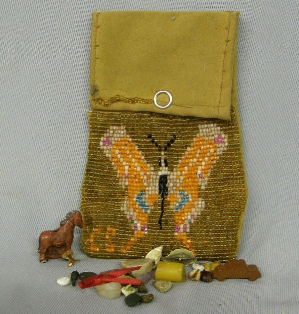 1007: Kiowa Beaded Possible Bag with Fetishes 5x3""