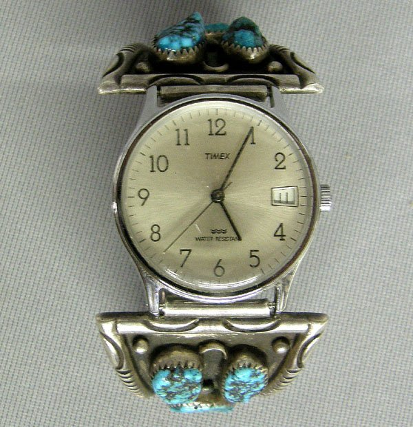 1008: Navajo Silver & Turquoise Watchband  7''x1.5''