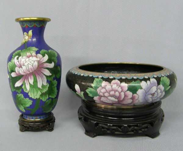 1010: 2 Japanese Cloisonne Vase & Bowl on Stands 8x3""