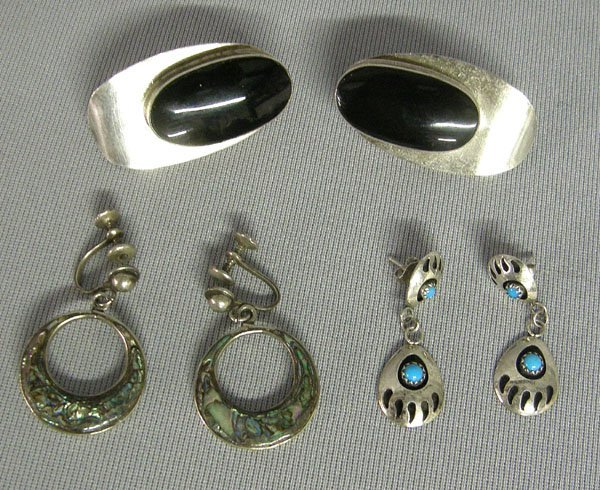 1014: 3 Pairs Sterling Mexican Earrings Largest 1.75''