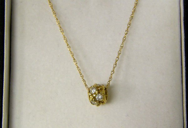 "1019: 14kt Gold Rhinestone Necklace 18"" end to end"