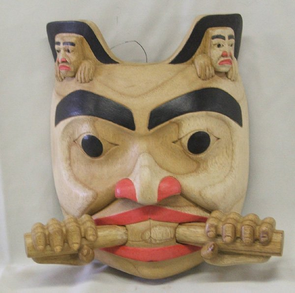 1157: Northwest Coast Style Wooden Mask 9'' x 9''