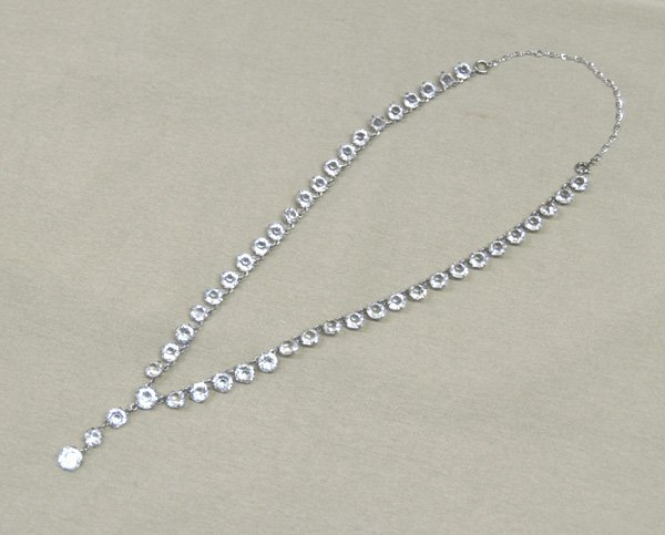 1234: Geisler Estate Rhinestone Sterling Necklace 19''