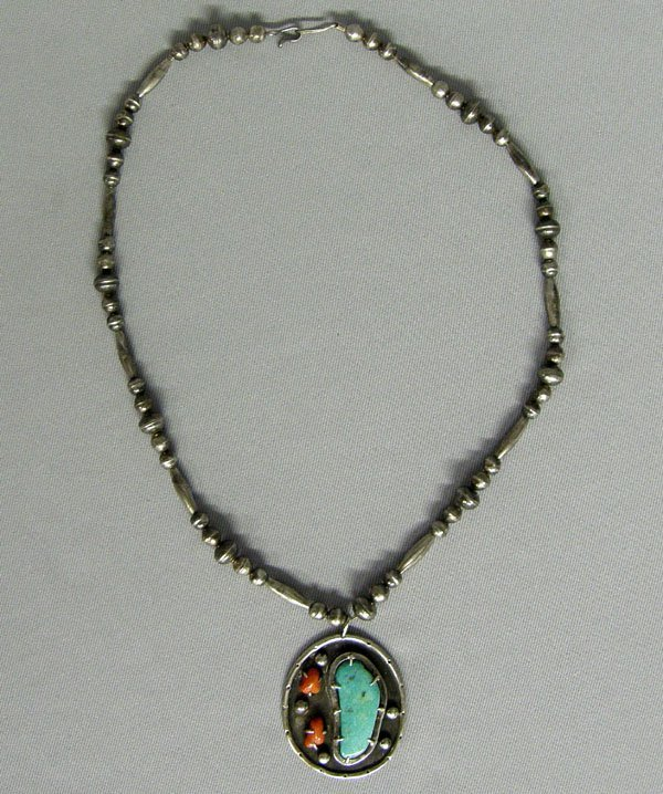 1238: Navajo Silver Bead Necklace Hallmarked 24'' Long