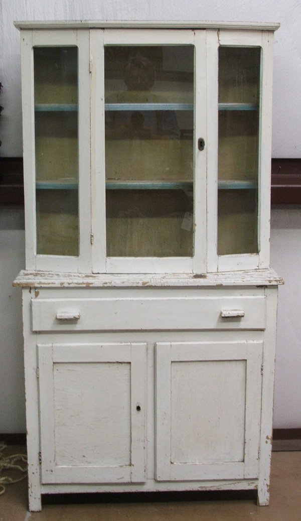 1240: Antique Mexican Step Back Cabinet 62.5Hx33Wx13.5'
