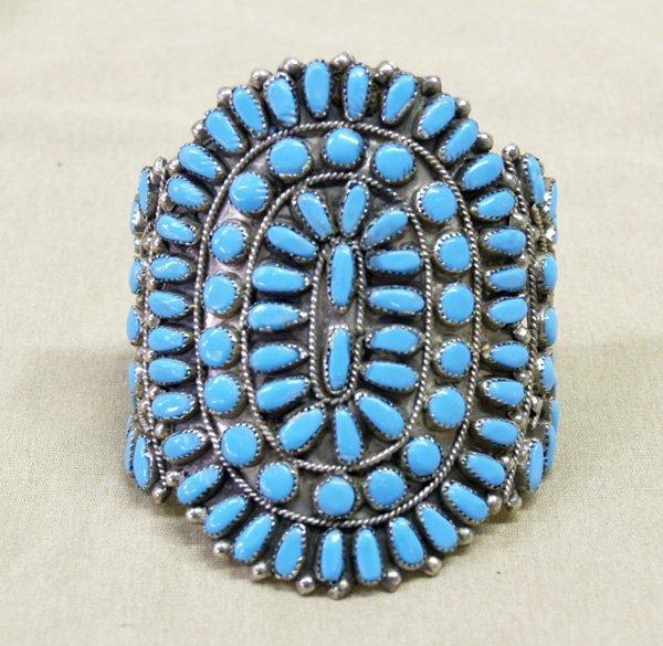 1241: Bold Navajo Turquoise Cluster Bracelet 7.5''