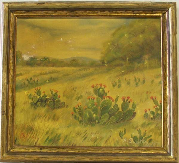 1245A: Antique Framed Oil Painting by Shelt on 16''