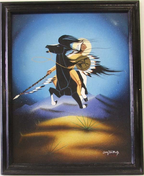 1338: Sioux Original Oil Painting by Sam Two Bulls 28x2