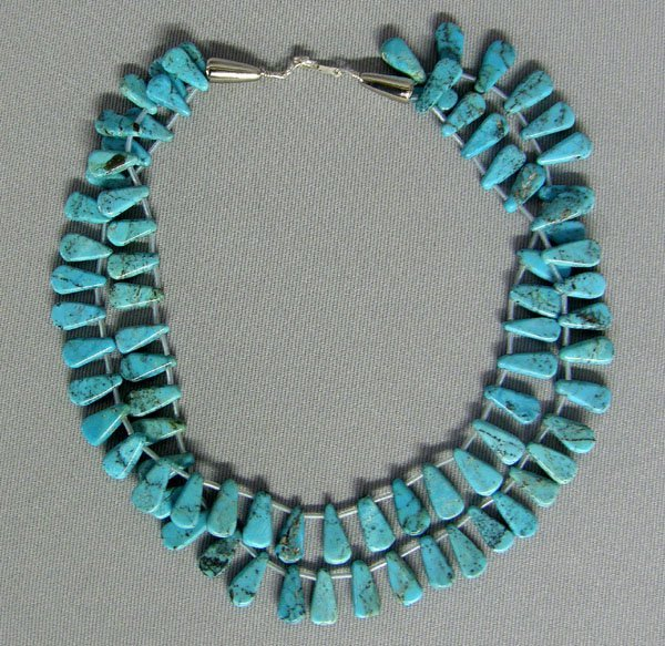 1007: Navajo 2 Strand Turquoise Bead Necklace 15.5''