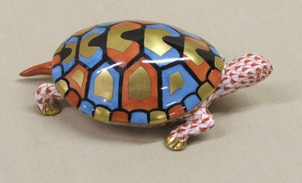 1011: Hungarian Hand Painted China Turtle 4'' x 2.5''