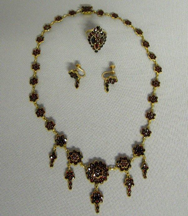 1041: Victorian Garnet Jewelry, Necklace, Earrings Ring
