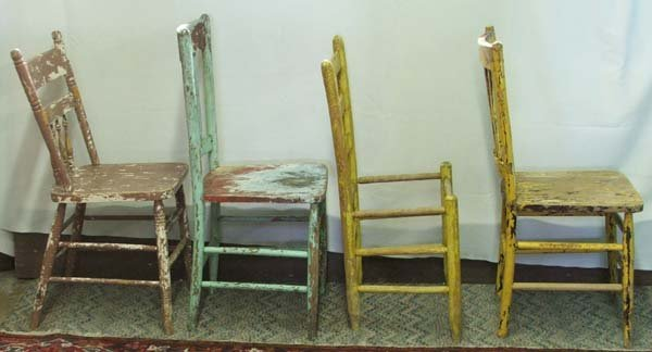 1063A: 4 Primitive Mexican Hand Painted Chairs 36Hx17Wx
