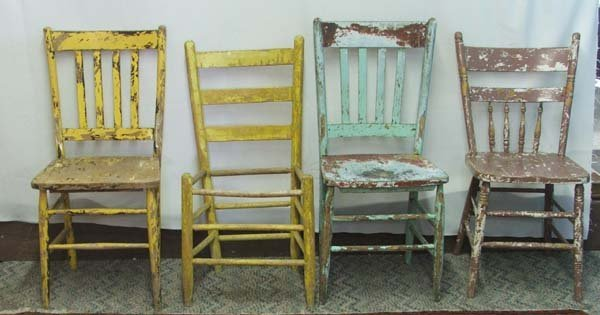 1063A: 4 Primitive Mexican Hand Painted Chairs 36Hx17Wx - 2