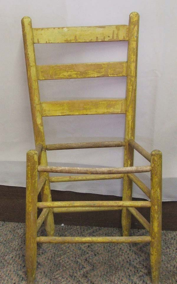 1063A: 4 Primitive Mexican Hand Painted Chairs 36Hx17Wx - 3