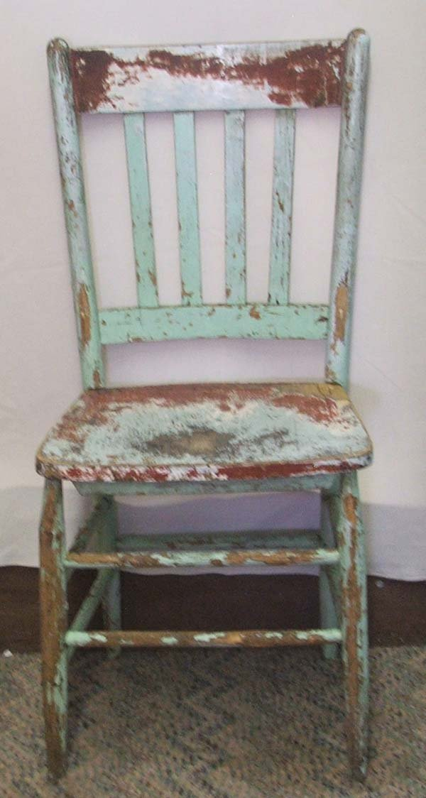 1063A: 4 Primitive Mexican Hand Painted Chairs 36Hx17Wx - 5