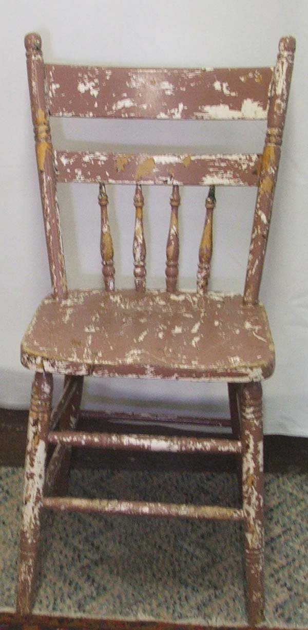 1063A: 4 Primitive Mexican Hand Painted Chairs 36Hx17Wx - 6