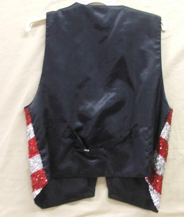 1065B: Red White & Blue Sequin Vest Size Medium - 2