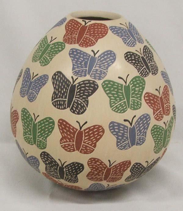 1002: Mata Ortiz Butterfly Jar by Rosa Gaona 7''x7''