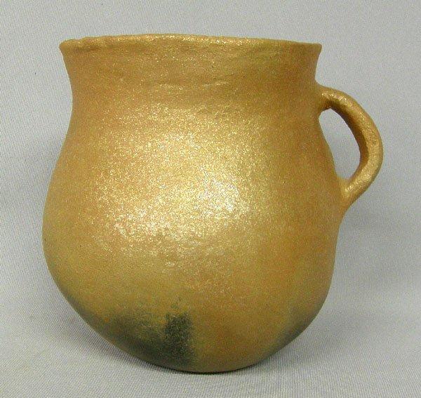 1004: Picuris Pueblo Micaceous Clay Handled Jar 6x5.5''