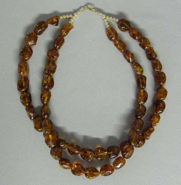 1007: Amber Double Strand Necklace 18''