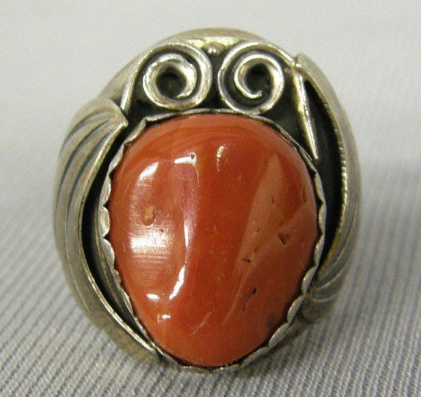 1009: Navajo Silver & Coral Ring Size 10