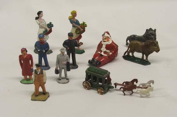 1011A: 11 Antique Miniature Lead Railroad Figures plus