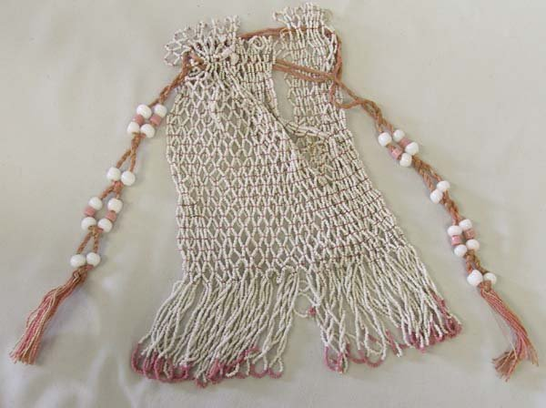 "1014: Vintage Hand Beaded Native American Bag 19"""