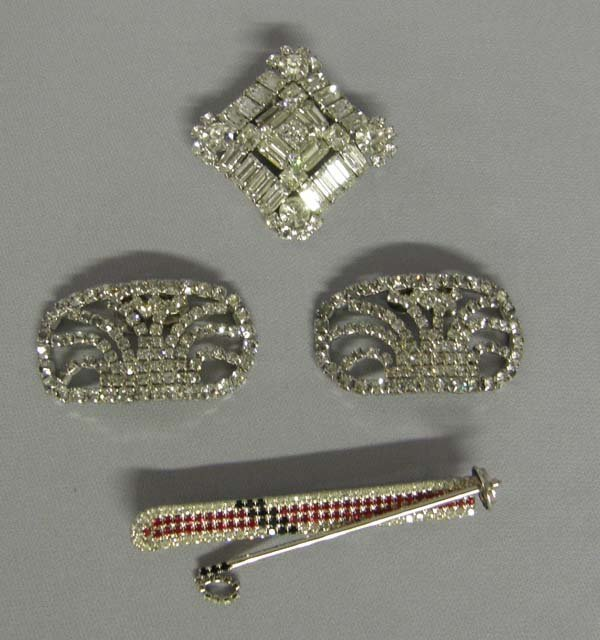 1015A: 4 Pc Estate  Vintage Rhinestone Jewelry 3.5''