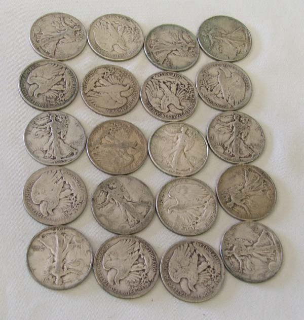 1045A: 20 Walking Liberty Silver Half Dollar Coins