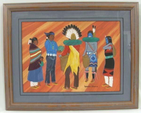 1145: Original Navajo Painting By R. Johnson 23'' x 18'