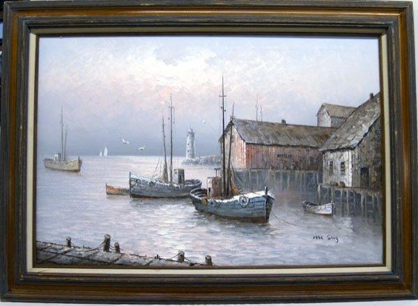 """1117B: Original Max Savy Harbor Scene Oil Painting 27""""H"""