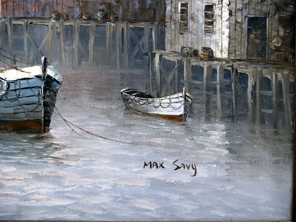 """1117B: Original Max Savy Harbor Scene Oil Painting 27""""H - 2"""