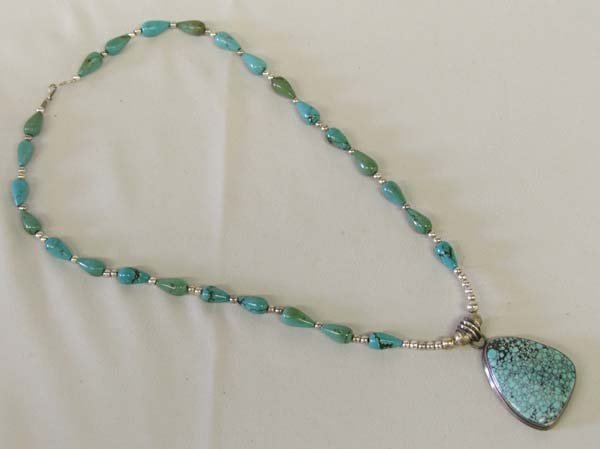 1206: 1980's Navajo Sterling & Turquoise Necklace 24''