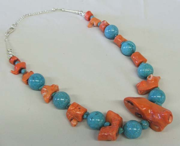 1216: Large Chunk Turquoise & Coral Necklace 20'' Long