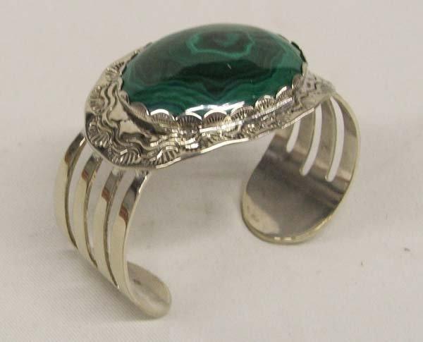 1401: Western Malachite & Silver Bracelet 6''