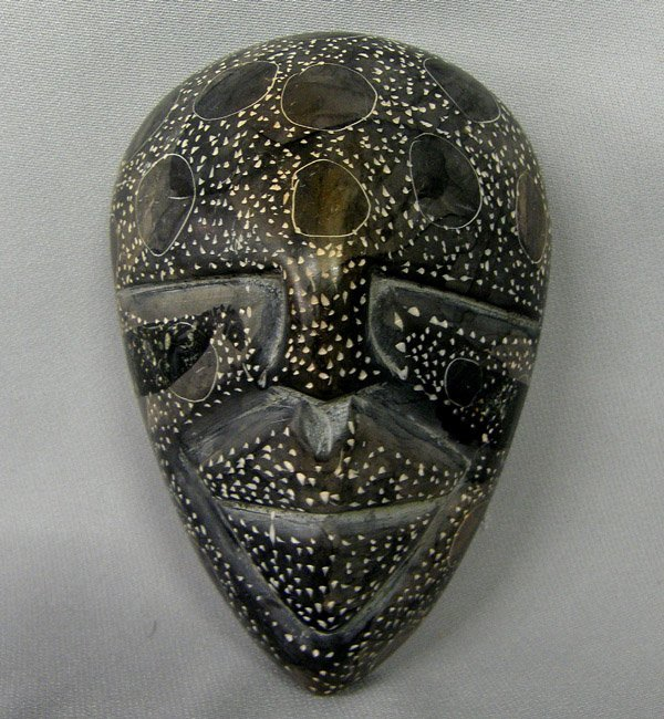 Carved Soapstone Mask Trinket Box 5''x3.5''x2.75''