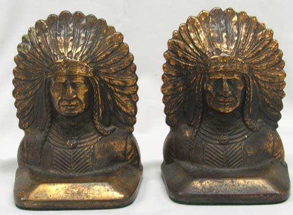 Pair 1920s Copper Indian Chief Bookends 6.5''