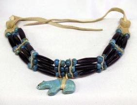 """Navajo Turquoise Choker  24"""" W/Bear Pendant 1.5""""L"""