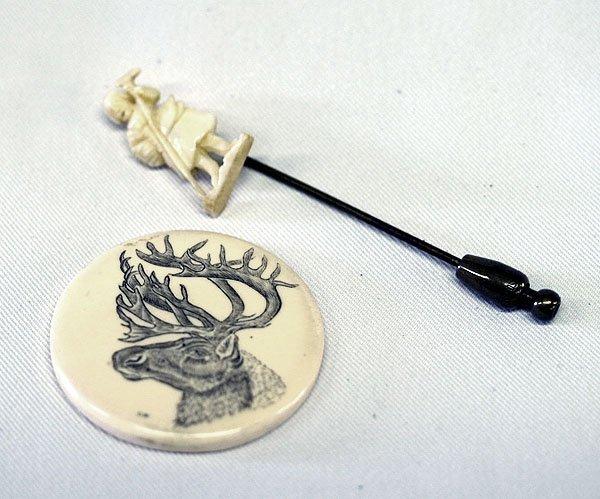 2 Ivory Pieces; Stick Pin & 1.5'' Scrimshaw Moose