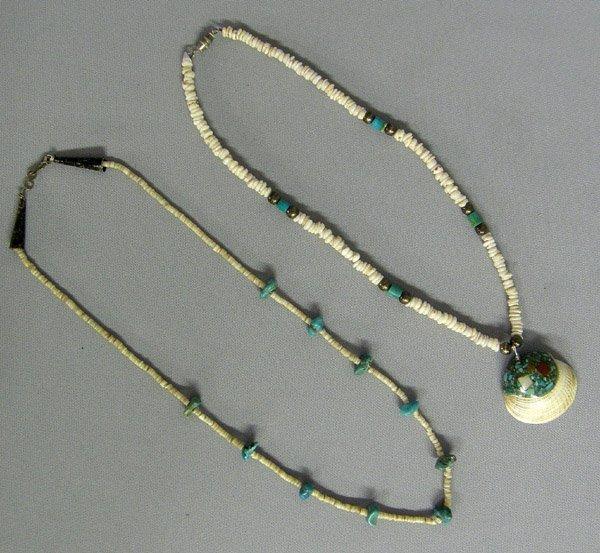 2 Santo Domingo Shell, Turquoise Necklaces 21''