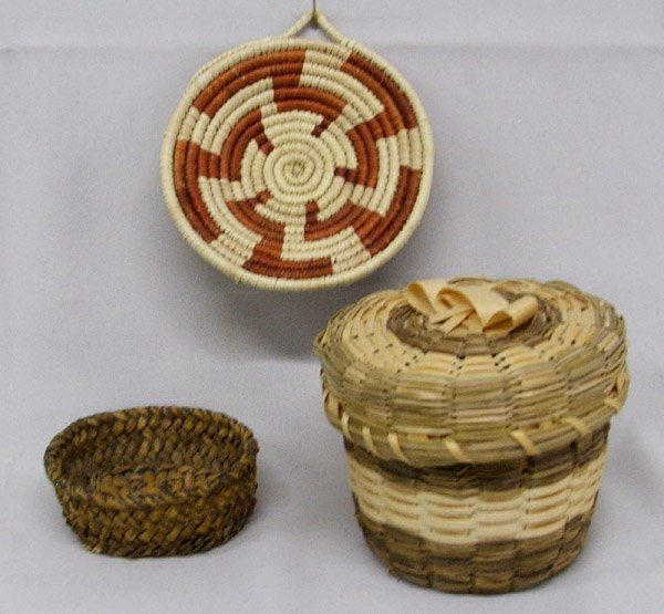 3 Native American Woven Baskets 3''x3.5'' Largest