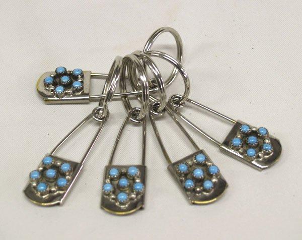 5 Navajo Silver & Turquoise Keyrings 2.5''