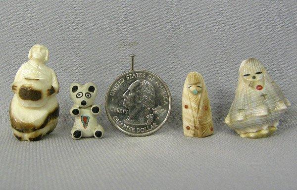 """4 Zuni Fetish, 2 Bone, 1 Shell and 1 Pottery, 1.25"""""""