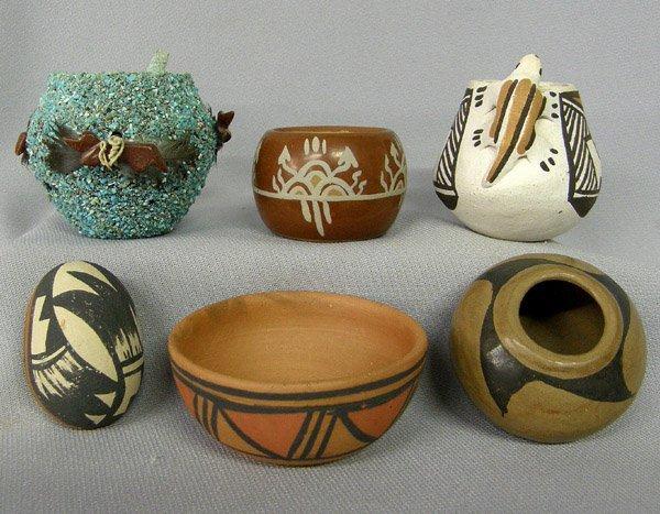 6 Miniature Pueblo Pottery 1.5'' x 2''
