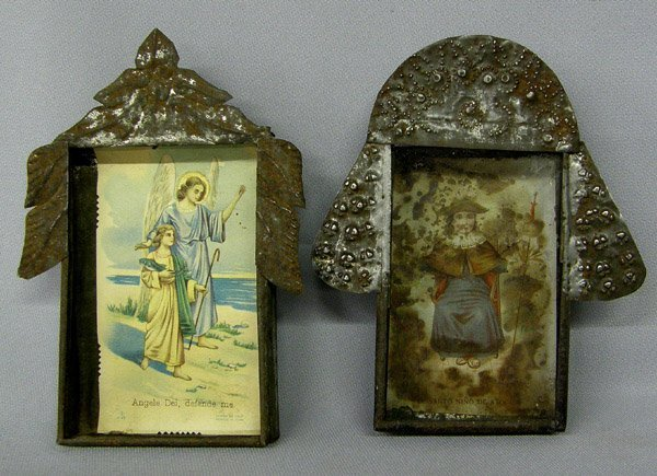 2 Vintage Mexican Tin Nicho with Devotional Pictures
