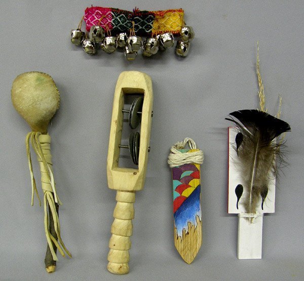 Collection of 5 Indian Dance Items, 9'' Largest.