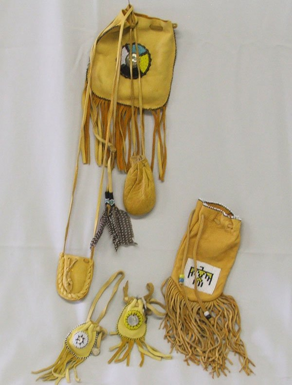6 Navajo Leather Medicine Bags, largest 10''