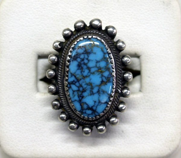 Navajo Old Pawn Turquoise & Silver Ring Size 5.5