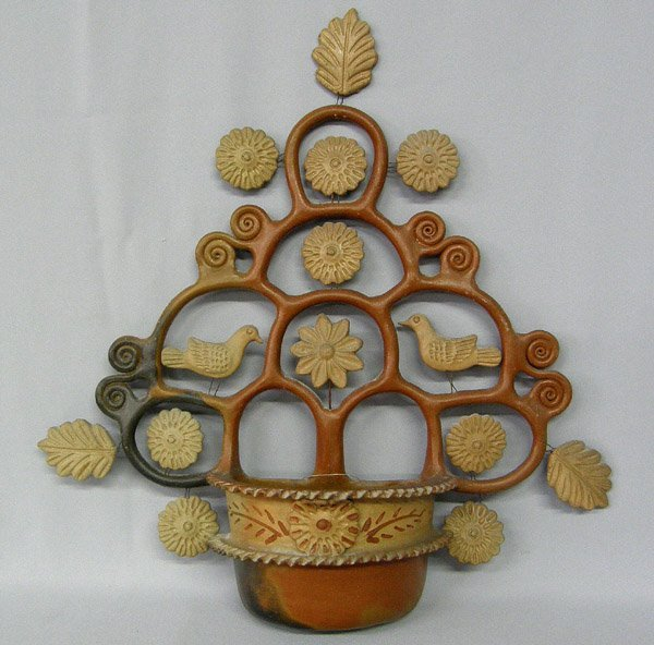 Mexican Pottery Tree of Life Hanging Planter 2l''x21''